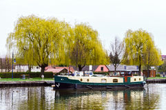 Little yacht sailing on Marne-Rhin canal in Saverne Royalty Free Stock Image