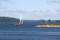 Little Yacht Sails at Sea Royalty Free Stock Photography