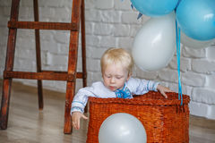 Little-year-old blond boy in traditional Ukrainian embroidered s Royalty Free Stock Photo