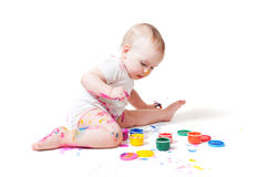 Little year-old child with paint Royalty Free Stock Photography