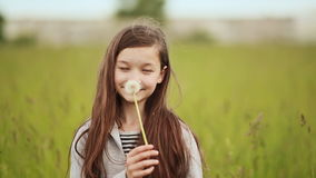 The little 11 year old girl blowing the dandelion.  stock footage