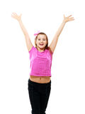 Girl stands and holds hands up Stock Images