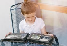 Little 7 years old boy browsing old photo album. Family history royalty free stock photo