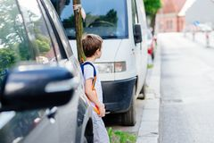 Little 7 years old boy during his road to school. Stock Photos