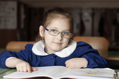 Little 6 years old girl first-grader Stock Photos