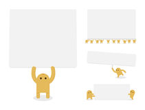 Little yellow characters hold blank paper or banne Stock Photography