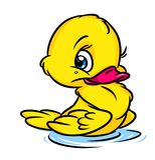 Little yellow duckling cartoon illustration Stock Photography