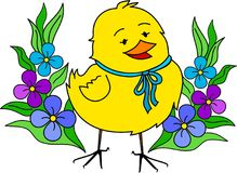 Little yellow easter chick with flowers Stock Image