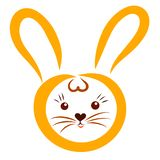 Little yellow hare with long ears and hearts, head.  vector illustration