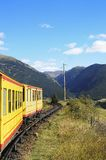 Little Yellow Train in the Pyrenees Mountains, France Royalty Free Stock Image