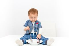 Little young baby girl want to eat Stock Images