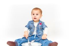 Little young baby girl want to eat Stock Photos