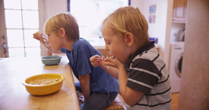 Little young boy eating cereal with his brother Stock Photos