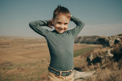 Little young caucasian boy in nature, childhood Royalty Free Stock Images