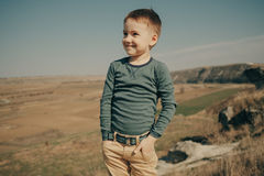 Little young caucasian boy in nature, childhood Royalty Free Stock Photos