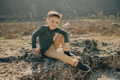Little young caucasian boy in nature, childhood Stock Images