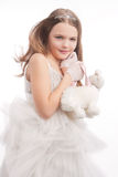 Little young kid with funy purse Stock Photos