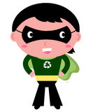 Cute recycle Superhero boy. Little young powerful Super boy in green cape. Vector Illustration Stock Photography