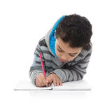 Little Young Schoolboy Studying Hard Royalty Free Stock Photography