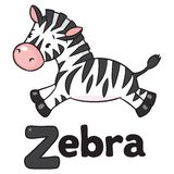 Little Zebra for ABC. Alphabet Z. Children vector illustration of little funny zebra runs on savannah. Alphabet Z Royalty Free Stock Photography