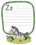 Little Zebra for ABC. Alphabet Z. Children vector illustration of little funny zebra runs on savannah. Alphabet Z. Including frame with dotted lines and place Stock Image