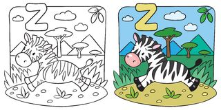 Little Zebra coloring book. Alphabet Z. Coloring picture or coloring book of little funny zebra runs on savannah. Alphabet Z Royalty Free Stock Photography