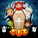 Little zombie and ghost are the Halloween party Royalty Free Illustration