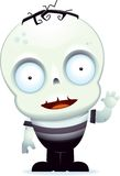 Little Zombie Waving. A cute cartoon zombie child waving stock illustration