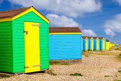 Littlehampton beach huts. Colourful beach huts at Littlehampton West Sussex England UK Europe royalty free stock image