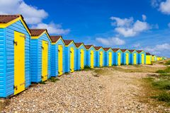Littlehampton beach huts. Colourful beach huts at Littlehampton West Sussex England UK Europe royalty free stock photo