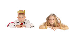 Littlel King and Queen Holding the Sign Stock Images