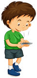 Littley boy dialing number on the phone. Illustration Stock Photo