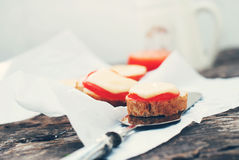 Littlle Snack with Bread, Tomato, Cheese Royalty Free Stock Photos