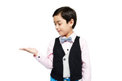 Littly boy showing empty hand up isolate Stock Photography