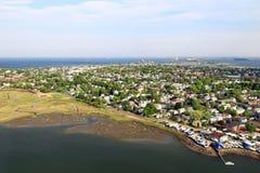 Littoral de la Nouvelle Angleterre - vue aérienne Photographie stock libre de droits