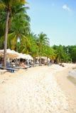Littoral de plage de Siloso à l'île-hôtel de Sentosa à Singapour Photo libre de droits