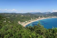 Littoral de village Afionas à l'île Grèce de Corfou regarder Photo stock