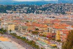 Littoral gentil de ville sur la mer Méditerranée Photo stock