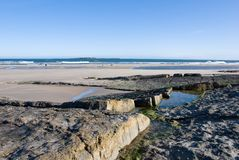 littoral le Northumberland Image stock