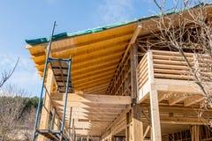 littoral neuf d'échelle de maison de trame de détail de construction sous en bois Image libre de droits