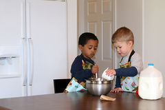 Litttle Chefs in the Kitchen  Stock Photography
