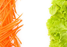 Littuce and carrot on white background. Stock Images