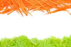 Littuce und Karotte auf weißem Hintergrund. Lizenzfreie Stockfotos