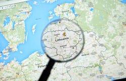 Lituânia em Google Maps Fotografia de Stock Royalty Free