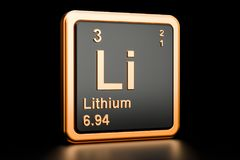 Litu Li chemiczny element świadczenia 3 d Zdjęcia Stock