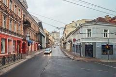 lituania Las calles viejas de Vilna Año Nuevo en Vilnius 31 de diciembre de 2017 Fotografía de archivo