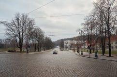 lituania Las calles viejas de Vilna Año Nuevo en Vilnius 31 de diciembre de 2017 Fotos de archivo