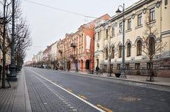 lituania Las calles viejas de Vilna Año Nuevo en Vilnius 31 de diciembre de 2017 Imagen de archivo libre de regalías