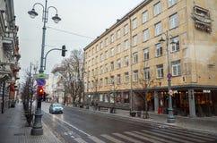 lituania Las calles viejas de Vilna Año Nuevo en Vilnius 31 de diciembre de 2017 Imágenes de archivo libres de regalías