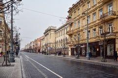 lituania Las calles viejas de Vilna Año Nuevo en Vilnius 31 de diciembre de 2017 Imagen de archivo